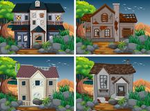 Four scenes with ruined and haunted houses. Illustration Stock Photos