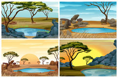Four scenes of savanna field with waterhole Stock Photography