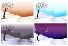 Four scenes of snow field in different color sky Royalty Free Stock Photography