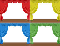 Four scenes of stage with different color curtains Royalty Free Stock Photo