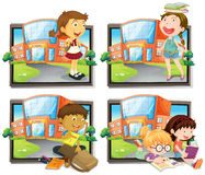 Four scenes of student at school Stock Image