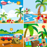 Four scenes of summer vacation on the beach. Illustration Royalty Free Stock Photos