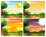 Four scenes of sunset in countryside Royalty Free Stock Photography