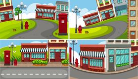 Four scenes of town with many buildings. Illustration Stock Photo