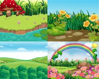 Four scenes with vegetables and flowers Stock Images