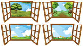 Four scenes from window Stock Image