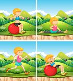 Four scenes with woman exercises in park. Illustration Stock Photo