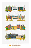 Four school building. In flat cartoon style Stock Images