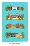 Four school building. In flat cartoon style Royalty Free Stock Photos