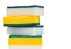 Four scouring pads on a white background Royalty Free Stock Photography