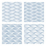Four sea waves Seamless Patterns Stock Image