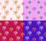 Four Seamless Abstract Floral Patterns. Set of backgrounds of different colors. Exclusive decorations Stock Photography