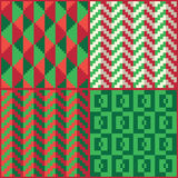 Four Seamless abstract geomatric pixel Christmas patterns. In flat design style Stock Photography