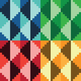 Four seamless abstract geomatrical pixel diamond patterns Royalty Free Stock Photo