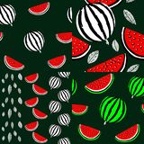 Four seamless background with watermelons vector illustration