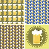 Four seamless backgrounds with beer mugs Royalty Free Stock Photography