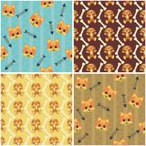 Four seamless backgrounds with cats and dogs. Illustration Royalty Free Stock Images