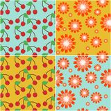 four seamless backgrounds with cherry and flowers Stock Image