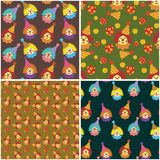 Four seamless backgrounds with clowns Stock Images