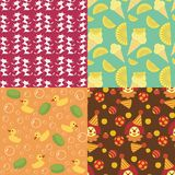 Four seamless backgrounds Royalty Free Stock Photo