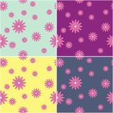 four seamless backgrounds with flowers Stock Photography
