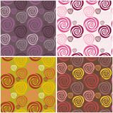 Four seamless backgrounds with flowers Royalty Free Stock Image