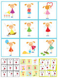 Four seamless backgrounds set. Four seamless background. Set of girls engaged in various activities such as: play, work, cry, paint, etc vector illustration