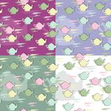 Four seamless backgrounds with teapots Stock Images