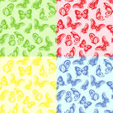 Four seamless butterflies pattern Royalty Free Stock Images