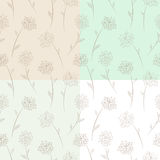 Four seamless floral pattern set. Stock Images