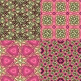Four seamless floral textures. Set of four seamless pink and green floral textures Stock Photo