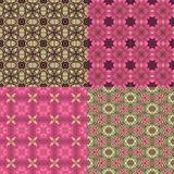 Four seamless floral textures. Set of four seamless pink and green floral textures Royalty Free Stock Photography