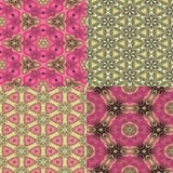 Four seamless floral textures. Set of four seamless pink and green floral textures Royalty Free Stock Photo