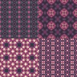 Four seamless floral textures. Set of four seamless pink and violet floral textures Stock Photos