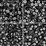Four seamless flower patterns stock illustration