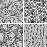 Four  seamless funky  patterns Royalty Free Stock Photos