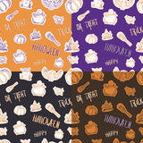 Four seamless halloween pattern with different elements. Can be used as a greeting card on a Halloween, invitation, background or any other design Stock Photo