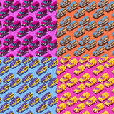 Four Seamless Isometric Car Patterns Royalty Free Stock Photos