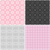 Four seamless lace backgrounds Stock Photos