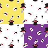 4 seamless repeat patterns of top hats and playing cards royalty free illustration