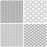 Four Seamless Monochrome Patterns Stock Photos