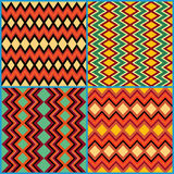 Four seamless ornamental patterns on ethnic motifs Royalty Free Stock Photos