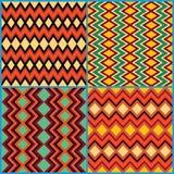 Four seamless ornamental patterns on ethnic motifs Royalty Free Stock Photos
