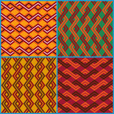 Four seamless ornaments on ethnic motifs Stock Photo