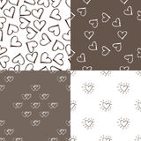 Four seamless pattern background with hearts. Stock Photography
