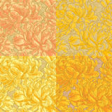 Four seamless pattern with chrysanthemum Stock Image
