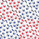 Four seamless pattern with hands and feet imprints Royalty Free Stock Photography