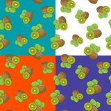 Four Seamless Pattern with Kiwifruit. Set of four Seamless Fruit Patterns , Fruit Kiwifruit on White Green Orange and Purple Background, Vector Illustration Stock Photography