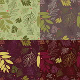 Four  seamless pattern with leaves and berries. Contour and silhouette leaves.seamless pattern with leaves and berries Royalty Free Stock Images