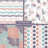 Four seamless pattern in one color Royalty Free Stock Image